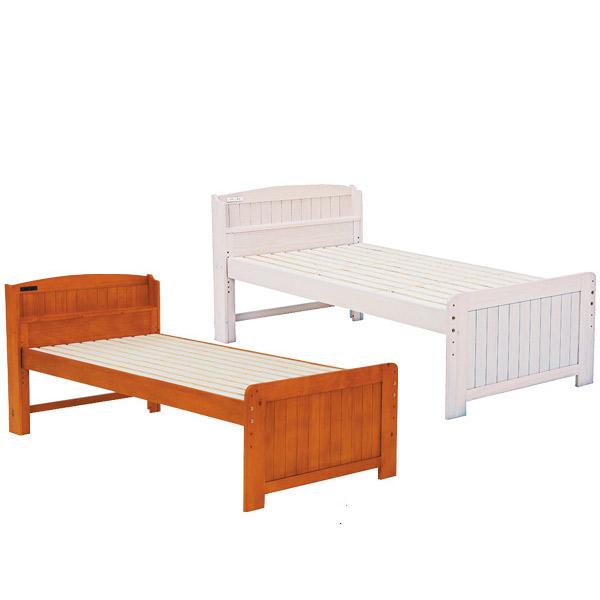 ベッド【MB-5016S-WS/BR】フレームのみ シングルベッド 高さ調節可能 コンセント付 新生活