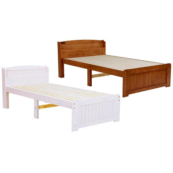 ベッド【MB-5903SSS-LBR/WS】フレームのみ シングルベッド セミシングルショートサイズ 高さ調節可能 コンセント付 新生活