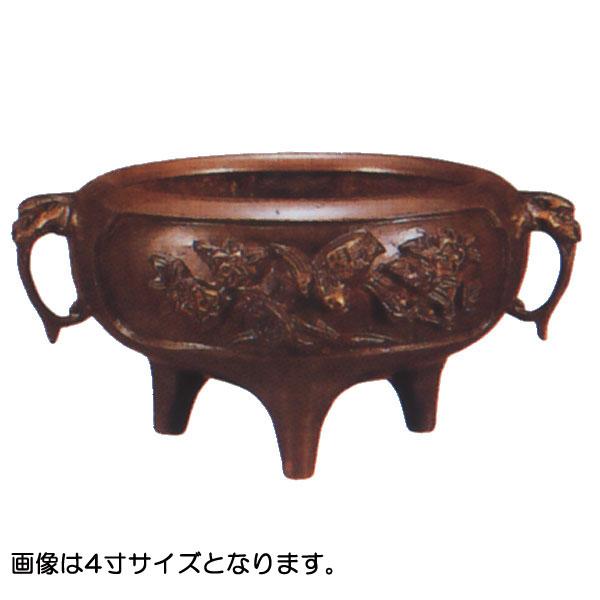 香炉 【鉄鉢前香炉 花鳥 耳付】 4.0寸 【送料無料】