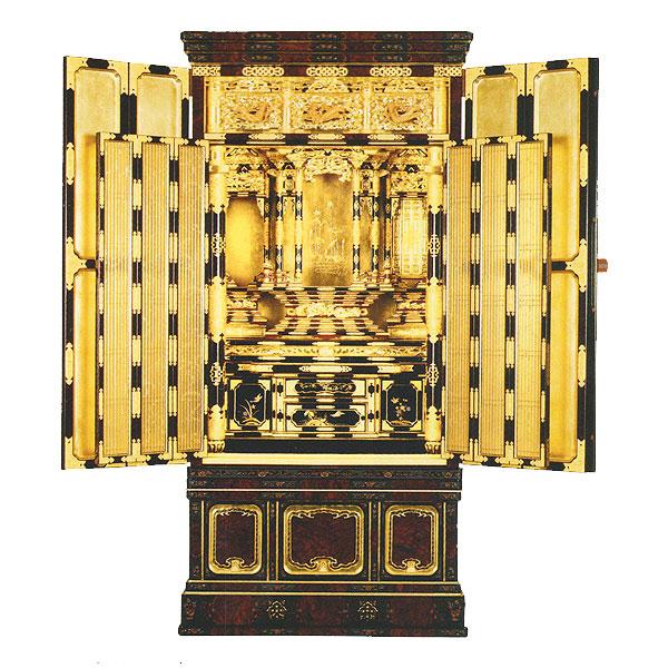 名古屋型台付 尾張3 6枚障子 東 箔仕上 金仏壇 【送料無料】