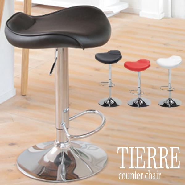 カウンターチェア 【TCC-621(ホワイト)/TCC-624(レッド)/TCC-629(ブラック)】 椅子 昇降式 合成皮革 スツール 3色 TIERRE 【送料無料】