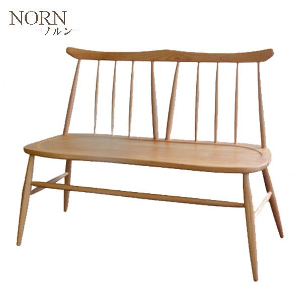 【ノルン】SETSUKI BENCH 背付きベンチ 2人掛け ベンチ アルダー材 シンプル 木製 ナチュラル おしゃれ 天然木