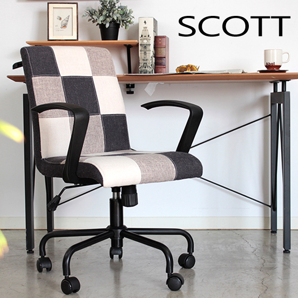 【SCOTT スコット オフィスチェアー】 椅子 パソコンチェア 肘掛け付チェアー 昇降チェアー【代引不可】