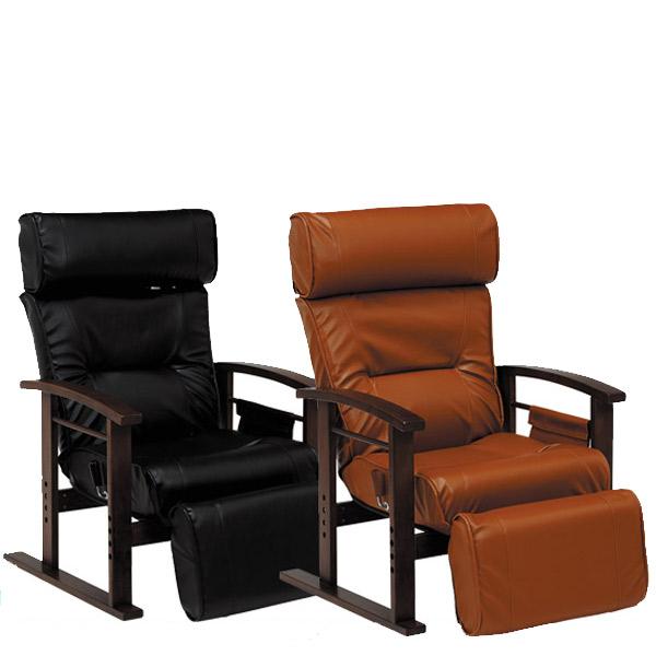 高座椅子【LZ-4758BK/BR】幅65 高さ調節 高機能座椅子 リクライニング付座椅子 伸縮式調整