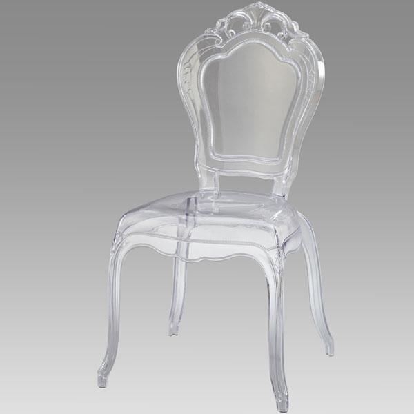 椅子【コモ スケルトンチェア 肘なし】(34501)イス 透明