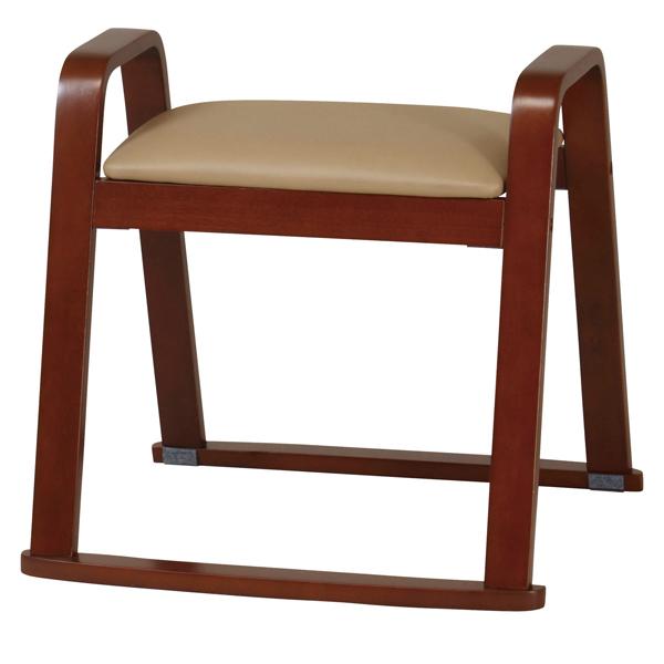 イス 椅子【W-525H(BE)】 肘つき木製スツール 玄関椅子 玄関スツール 腰かけ