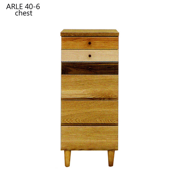 チェスト 木製 6段 ARLE アルル 40-6チェスト chest 幅40/タンス/おしゃれ/完成品/国産/日本製