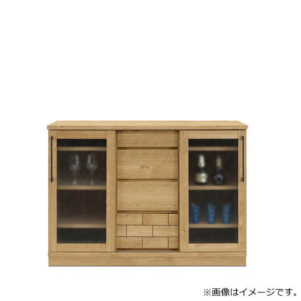 収納棚 木製 【ダッグ】 幅120キャビネット 取っ手付 引出し 箱組 ダイニング リビング 洋室 モダン レンガ風デザインが特徴 収納家具
