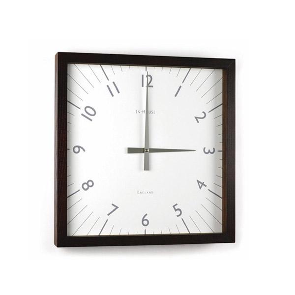 壁掛け時計 【W9WN SQUARE ウォールクロック ウォルナット/ホワイト 38cm】 IN HOUSE インハウス 【送料無料】
