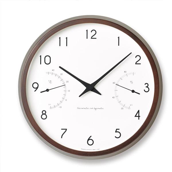 掛け時計 【Campagne air カンパーニュ エール】 温湿度計付き PC17-05 NT ナチュラル/PC17-05 BW ブラウン シンプル オシャレ ブナ カワイイ クロック 壁掛け 時計【送料無料】