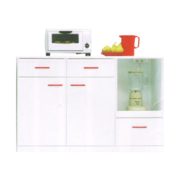 【Sweet・Red スイート・レッド】120カウンター ローボード キッチン収納 国産 ホワイト レッド 背面化粧仕上げ エナメル鏡面【送料無料】