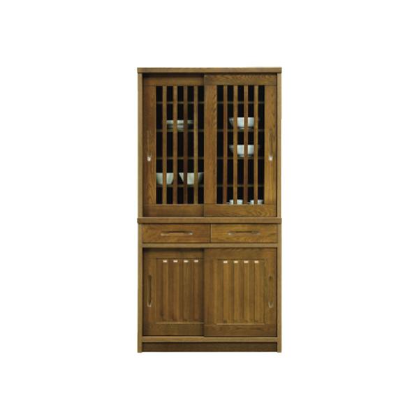 90DB H180 【マリブ】 ダイニングボード 食器棚 180cm高 キッチン 収納 アッシュ材