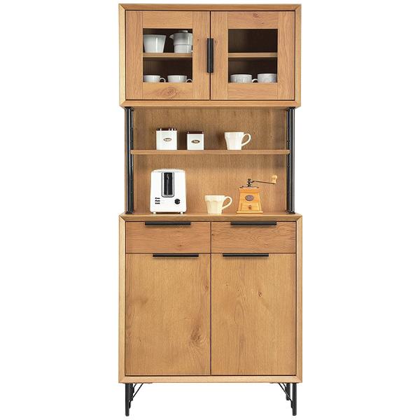 キッチンボード キッチン収納 【オアシス オアシスBオーク キッチンボードガラス】 収納棚 食器棚
