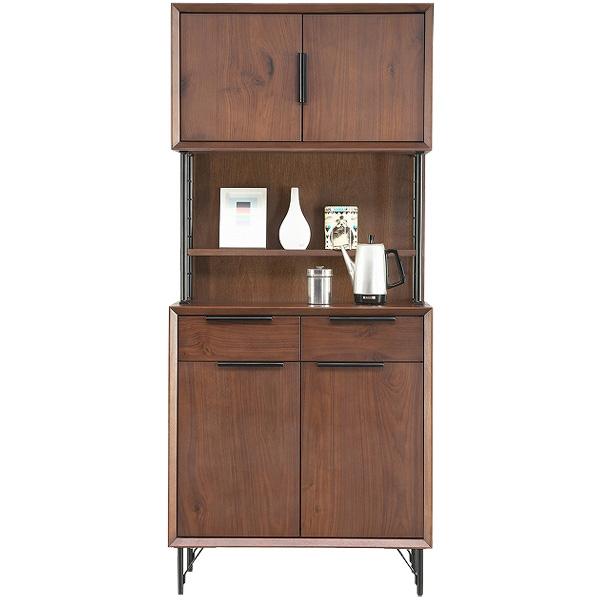 キッチンボード キッチン収納 【オアシス オアシスBウオールナット キッチンボード板戸】 収納棚 食器棚