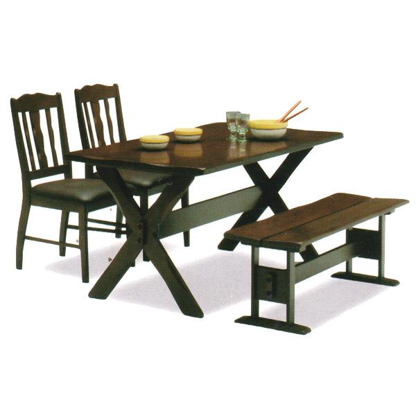 ダイニングセット 【Monterey モントレ】140ダイニング4点セット 140cm幅ダイニングテーブル チェア2脚 ベンチ 食卓 4人用 ラバーウッド材使用