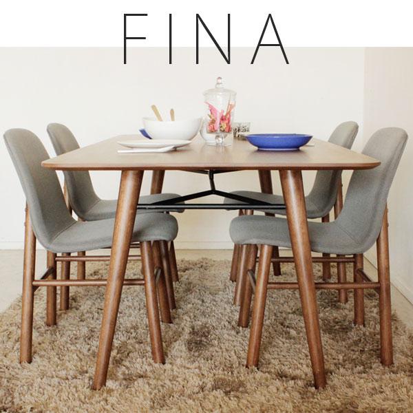【FINA フィナ】ダイニング5点セット フィナダイニングテーブル + KT-45ダイニングチェア4脚 シンプル/おしゃれ/ウォールナット FNA