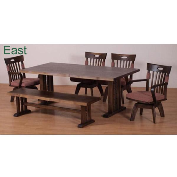 ダイニング6点セット【East イースト】ダイニングテーブルセット 食卓セット キッチンセット RY605 180テーブル チェア4脚 ベンチ アンティーク塗装 おしゃれ
