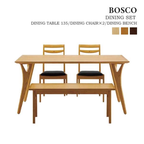 【BOSCO ボスコ】ダイニング4点セット (テーブル×1/チェア×2/ベンチ×1) 木製 ホワイトアッシュ材 オイル仕上げ 天然木 DT70504Q/DC70701S/DC70902S