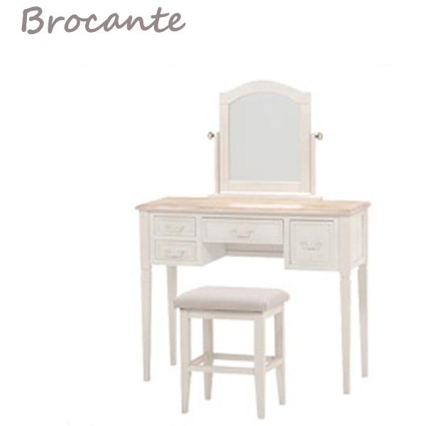 92 ドレッサー デスク 化粧台 【BROCANTE】 MD-7339WHS 天然木使用 鏡台 姫系 椅子付き 収納 北欧風 シンプル