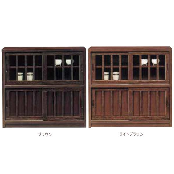 リビングボード 食器棚 レンジボード 【鎌倉 90キャビネットL】  ライ後ブラウン/ブラウン