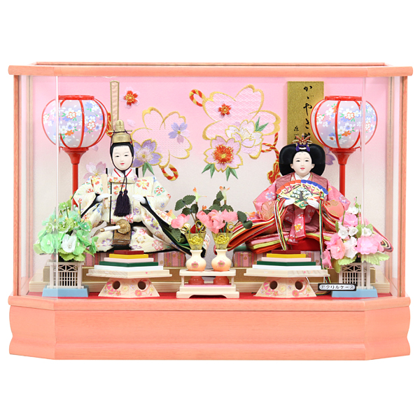 雛人形 ひな人形 衣裳着 コンパクト ケース飾り ケース入り 親王飾り 衣裳着人形 桃の節句 ひな祭り お雛様 雛 おしゃれ かわいい おひなさま ケース入りひな人形 ピンク さやか 121S81 展示現品