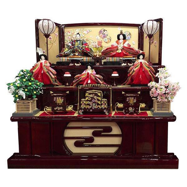 展示現品 雛人形 ひな人形 三段飾り 五人飾り 355 TGP-5 衣裳着人形 桃の節句/ひな祭り/お雛様
