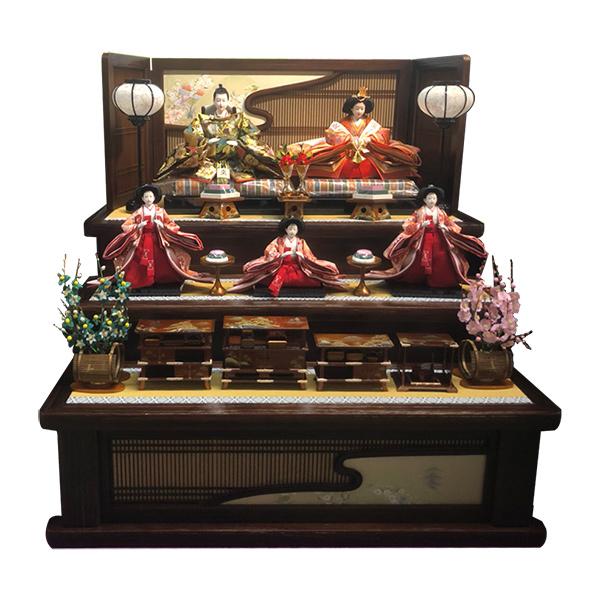 展示現品 雛人形 ひな人形 三段飾り 五人飾り 951 NOR-3 流水組子飾り台 衣裳着人形 桃の節句/ひな祭り/お雛様
