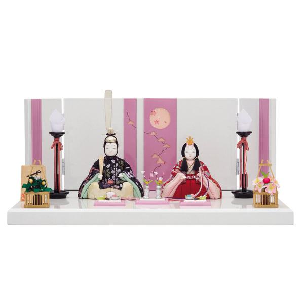 展示現品 雛人形 ひな人形 木目込み 平飾り モダン 親王飾り 474 C-129 さくらさくら 16号 木目込み人形 桃の節句/ひな祭り/お雛様/桃色/ピンク
