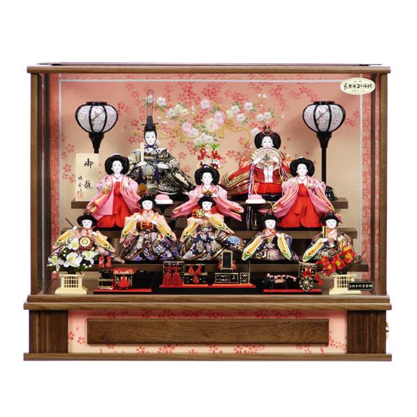 展示現品 雛人形 ひな人形 ケース飾り ケース入り 十人飾り 203 伊織 衣裳着人形 桃の節句/ひな祭り/お雛様/オルゴール内蔵