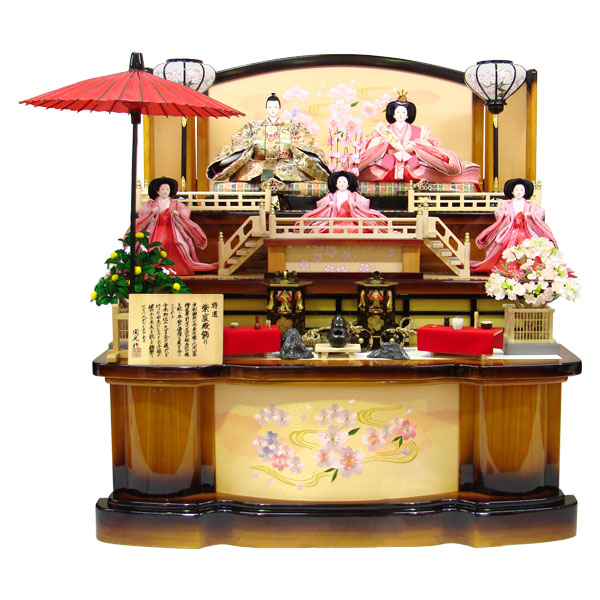 展示現品 雛人形 ひな人形 三段飾り 五人飾り 608 茶塗 庭園付紫宸殿三段 五人飾り 衣裳着人形 桃の節句/ひな祭り/お雛様
