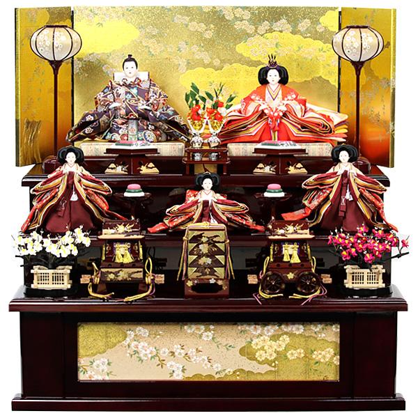 雛人形 ひな人形 雛 三段飾り 五人飾り RO110S61 衣裳着人形 桃の節句/ひな祭り/お雛様/展示現品