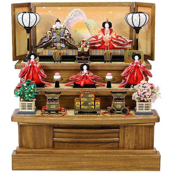 雛人形 ひな人形 雛 三段飾り 五人飾り RO630S61 3段 5人 衣裳着人形 桃の節句/ひな祭り/お雛様/展示現品