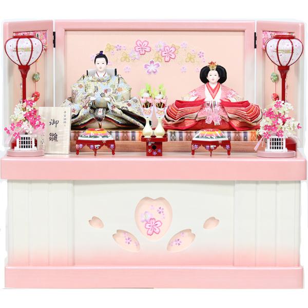 雛人形 コンパクト ひな人形 おしゃれ 雛 衣裳着 収納飾り 親王飾り 衣裳着人形 【8-115-BO】【791S91】 数量限定 かわいい 可愛い 桃の節句 ひな祭り お雛様 白ピンク収納台 おひなさま