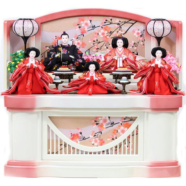 雛人形 コンパクト ひな人形 おしゃれ 雛 衣裳着 収納飾り 五人飾り 衣裳着人形 【オリジナル雛人形】【RO910S91】 数量限定 かわいい 可愛い 桃の節句 ひな祭り お雛様 白ピンク収納台 おひなさま