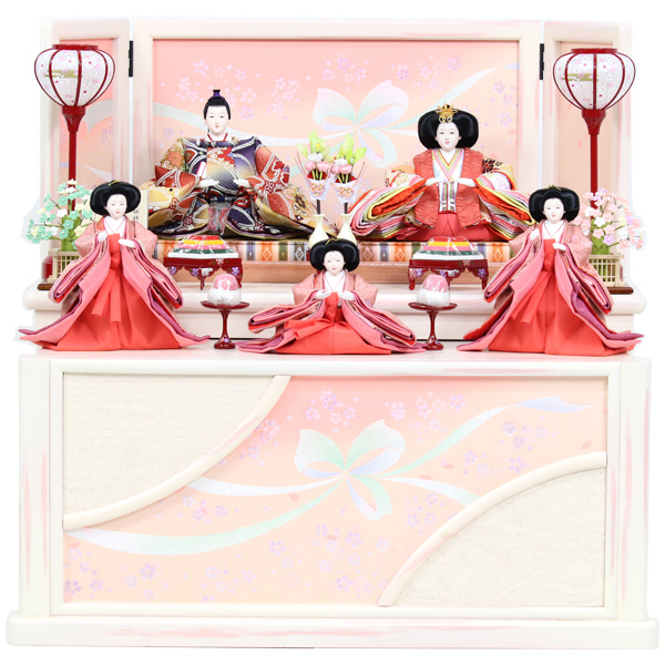 雛人形 コンパクト ひな人形 おしゃれ 雛 衣裳着 収納飾り 二段飾り 五人飾り 衣裳着人形 【特T8-284】【491S91】 数量限定 かわいい 可愛い 桃の節句 ひな祭り お雛様 おひなさま