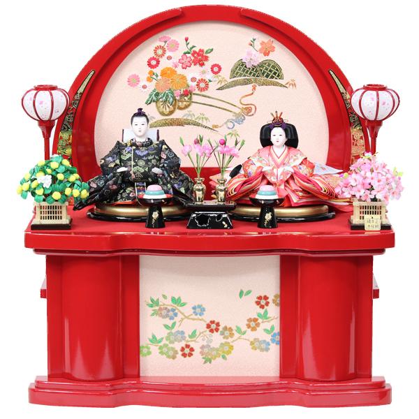 雛人形 コンパクト ひな人形 おしゃれ 雛 衣裳着 収納飾り 親王飾り 衣裳着人形 【オリジナル雛人形】【RO500S91】 展示現品 かわいい 可愛い 桃の節句 ひな祭り お雛様 赤収納台 おひなさま