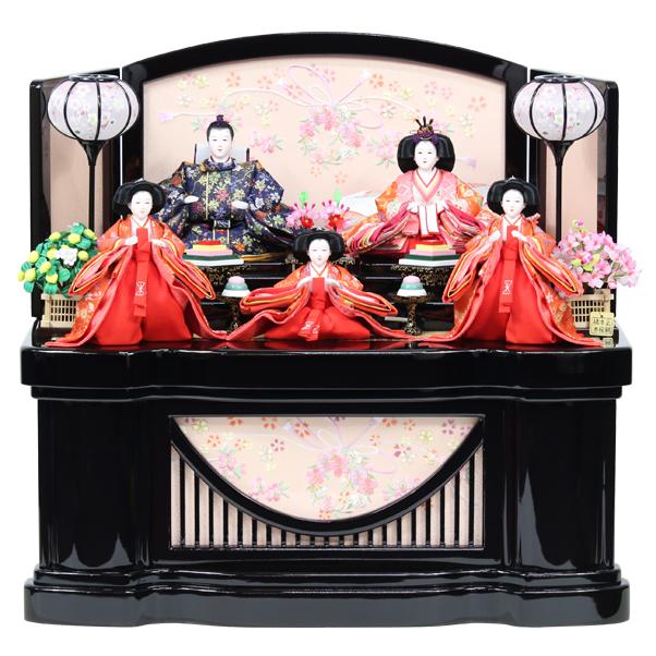 雛人形 コンパクト ひな人形 おしゃれ 雛 衣裳着 収納飾り 五人飾り 衣裳着人形 【オリジナル雛人形】【RO810S91】 数量限定 かわいい 可愛い 桃の節句 ひな祭り お雛様 金屏風 おひなさま