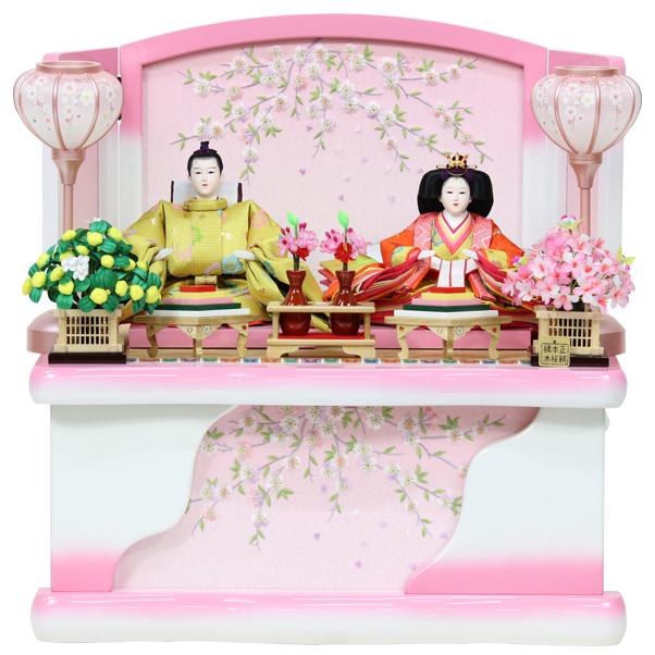 雛人形 コンパクト ひな人形 おしゃれ 雛 衣裳着 収納飾り 親王飾り 衣裳着人形 【オリジナル雛人形】【RO620S91】 数量限定 かわいい 可愛い 桃の節句 ひな祭り お雛様 白ピンク収納台 おひなさま