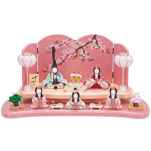 雛人形 一秀 ひな人形 木目込み 平飾り 五人飾り 木目込み人形 桃の節句 ひな祭り お雛様 【五人飾(15-3号)/C-111】
