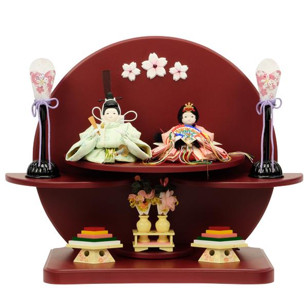 ひな人形 おひな様 雛人形 衣裳着 二段飾り 親王飾り 桃の節句 毎日続々入荷 お雛様 50AKA-39 衣裳着人形 レッド 日本産 ひな祭り