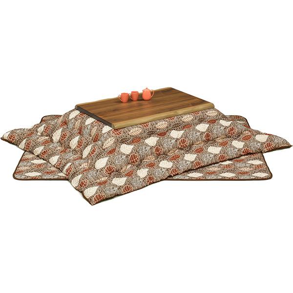 ロータイプこたつセット (クラフト3点セット)120サイズ 長方形 ロータイプこたつ3点セット 4人掛け 葉っぱ柄 送料無料