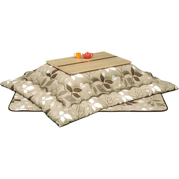ロータイプこたつセット (レイガNA3点セット)120サイズ 長方形 ロータイプこたつ3点セット 4人掛け 葉っぱ柄 送料無料
