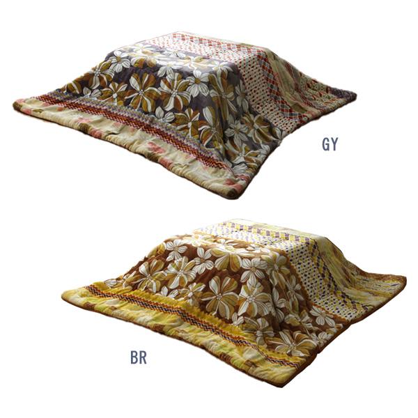 送料無料 代引不可 こたつ布団 長方形 流行のアイテム リーフ柄 薄掛布団 カジュアル 約190×240cm ルガーナ 高価値