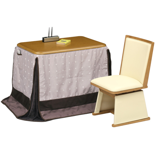 こたつ テーブル ハイタイプこたつセット (UKT-918 LO (栓柄転写) 3点セット (UKT-918+UKC-230+UKH-53)) 一人用 一人暮らし 長方形 おしゃれ 送料無料