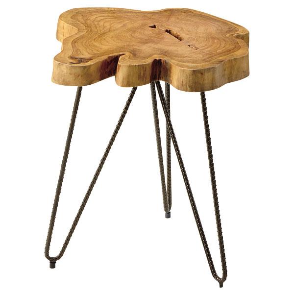 ムク テーブル【FTT-185】サイドテーブル ナイトテーブル 天然木 アイアン【送料無料】