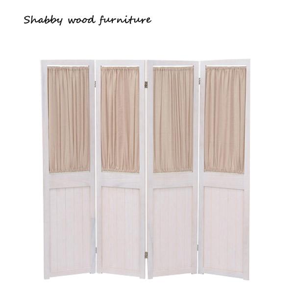 パーテーション【MS-5414AW】Shally SHABBY WOOD FURNITURE 4連 スクリーン ついたて 間仕切り 衝立
