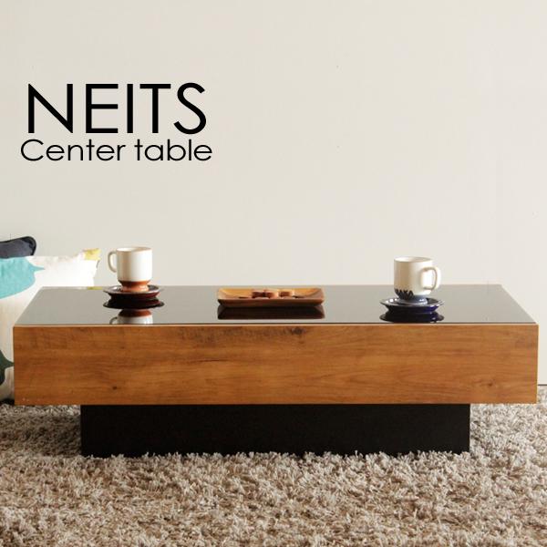 ガラス天板 ネイツ 幅105 ローテーブル ヴィンテージ調/モダンデザイン/引き出し収納スペース付/日本製 テーブル おしゃれ 高級感 リビングテーブル センターテーブル