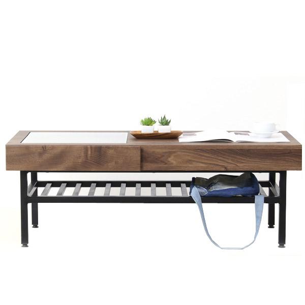 センターテーブル ローテーブル ベック 110リビングテーブル 棚付き カジュアル デザイン おしゃれ ガラス モダン 高級感