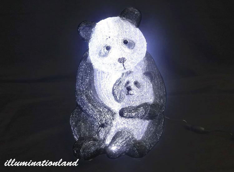 親子パンダ LEDクリスタルグロー【イルミネーション ライト 飾り デコレーション 電飾 オブジェ アンティーク おしゃれ かわいい グッズ LED ディスプレイ】
