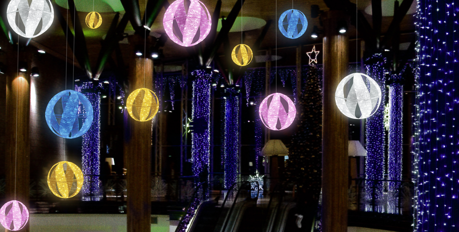 スパイラルボール(中)LEDクリスタルグロー【イルミネーション ライト 飾り デコレーション 電飾 オブジェ アンティーク おしゃれ かわいい】グッズ LED ディスプレイ